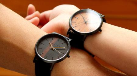 文字盤に本木目を使用した腕時計