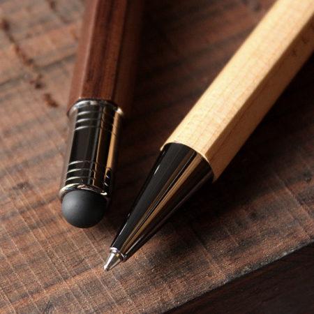 銘木をプラスした木製タッチ&ボールペン