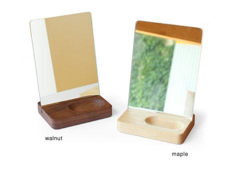 【新商品】トレイ付き木製スタンドミラー