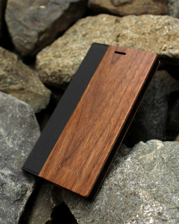 手帳型の木製ケース Xperia XZ Premium
