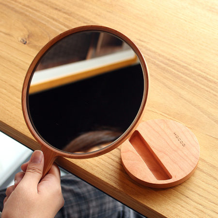 スタンドミラーとして使える木製手鏡